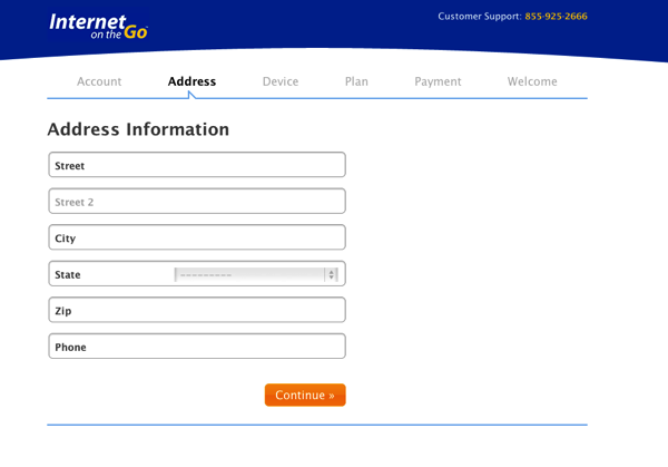 Internet on the Go Address Information